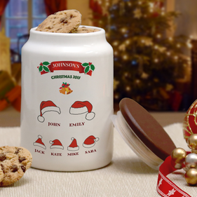 Personalized Christmas Family Cookie Jar