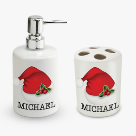 Personalized Christmas Santa's Hat Soap Dispenser and Tooth Brush Holder