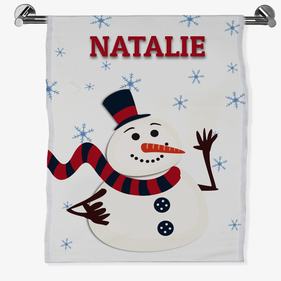Personalized Christmas Snowman Bath Sheet