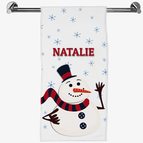 Personalized Christmas Snowman Hand Towel