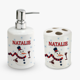 Personalized Christmas Snowman Soap Dispenser and Toothbrush Holder Set