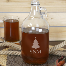 Personalized Christmas Tree Monogram Beer Growler