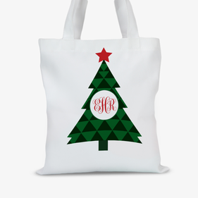 Personalized Christmas Tree Tote Bag