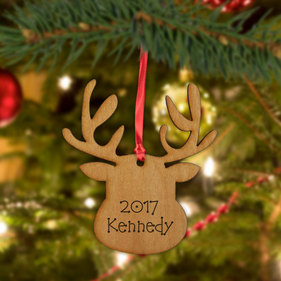Personalized Christmas Wood Reindeer Ornament