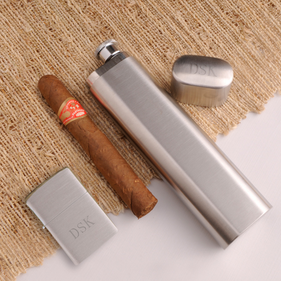 Personalized Cigar Case and Lighter