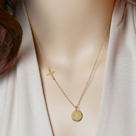 Personalized Circle Initial w Cross Necklace