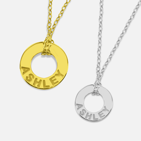 Personalized Circle Name Necklace in Silver