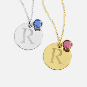 Custom Silver Necklace w/ Initial & Swarovski Birthstone Slide
