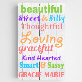 Personalized Colorful Kids Canvas Sign-Beautiful