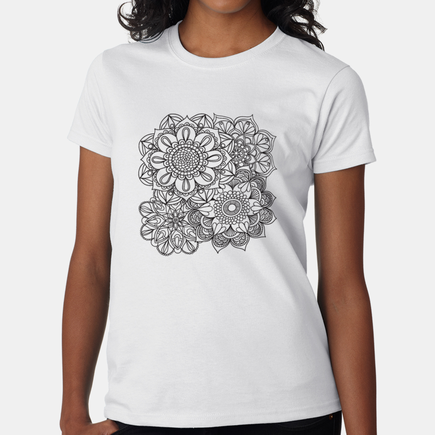 Add Color Personalized Flowers T-Shirt for Women