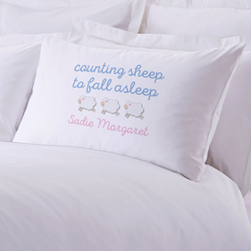 Counting Sheep To Fall Asleep Custom Pillowcase