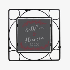 Personalized Couples Black Iron Trivet