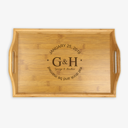 Personalized Couples Handle Wood Tray