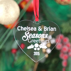 Personalized Acrylic Couples Heart Christmas Ornament