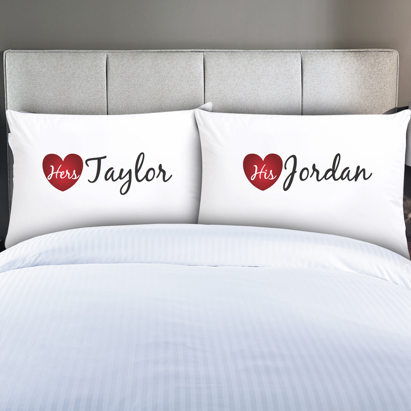 Personalized couples his hers pillow cases monogram online for White craft pillow cases