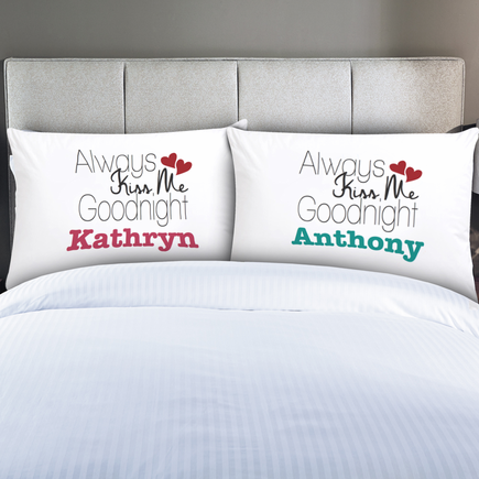 Personalized Couples Always Kiss Me Pillow Cases Moogram