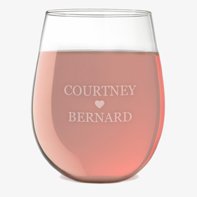 Personalized Couples Love Stemless Wine Glass