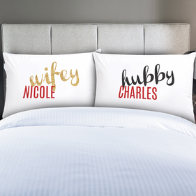 Personalized Hubby and Wifey Couples Pillowcases