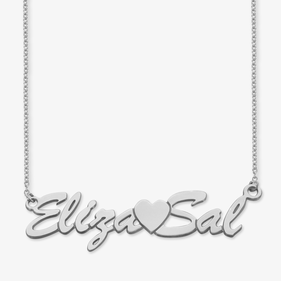 Personalized Couples Script Heart Name Necklace