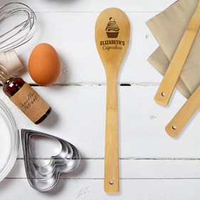 Personalized Cupcakes Bamboo Cooking Spoon