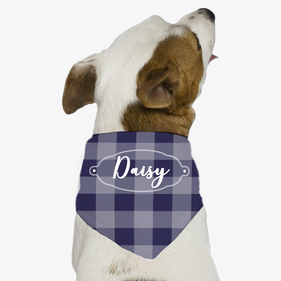 Personalized Purple Plaid Dog Bandana