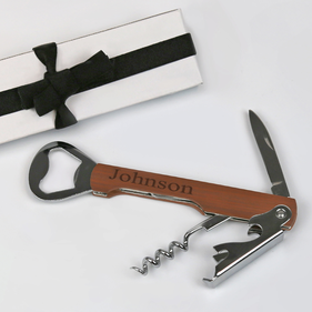 Personalized Dark Wooden Wine Opener and Can Opener Gift Set