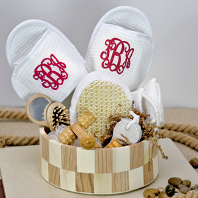 Deluxe Spa Basket w/ Monogram Waffle Slippers
