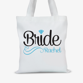 Personalized Diamond Bridal Tote Bag