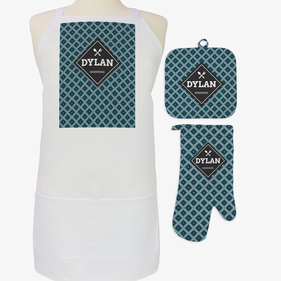 Exclusive Sale - Custom Diamond Pattern 3-Piece Apron, Potholder and Mitt Set