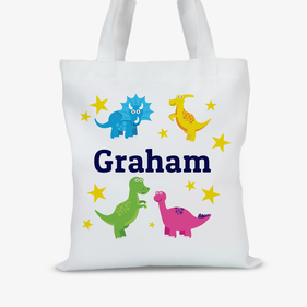 Personalized Dinosaur Kids Tote Bag
