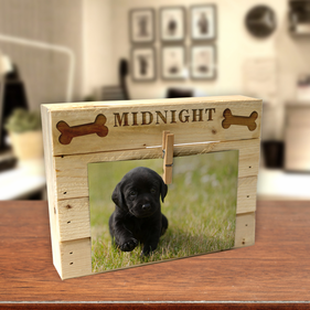 Personalized Dog Bone Wood Box Frame w/ Clip