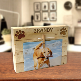 Personalized Dog Paw Print Wood Box Frame w/ Clip