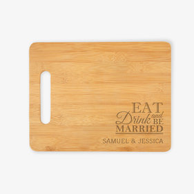 Personalized Eat Drink and Be Married Cutting Board