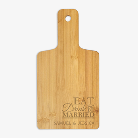 Personalized Eat Drink and Be Married Wooden Serving Board