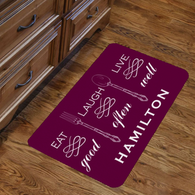 Personalized Eat Good Laugh Often Live Well Indoor Floor Mat
