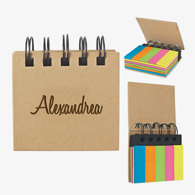 Personalized Eco Sticky Notes-N-Flags Spiral Book