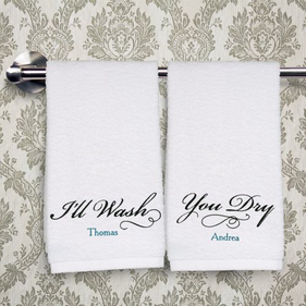 Personalized Embroidered Couples Hand Towel Set