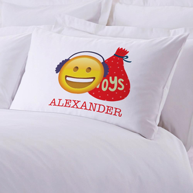 Personalized Emoji Santa Pillowcase