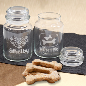 Personalized Engraved Dog Treat Glass Jar