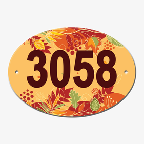 Personalized Fall Leaves Oval Door Plate
