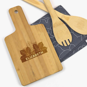 Personalized Fall Leaves Wooden Serving Board