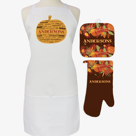 Personalized Fall Pumpkin 3-Piece Apron Potholder and Mitt Set