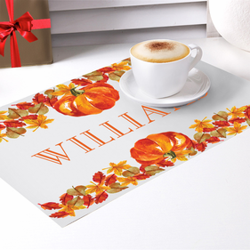 Personalized Fall Pumpkin Placemat