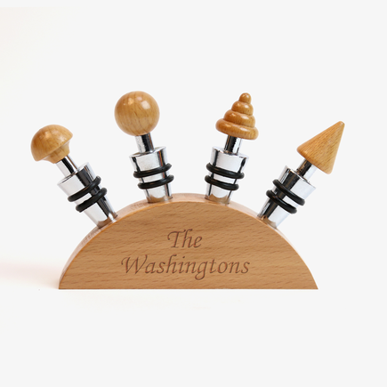 Personalized Family Blonde Wood Wine Stopper Set