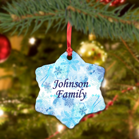 Personalized Family Ceramic Snowflake Ornament