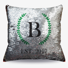 Personalized Family Established Flip Sequin Decorative Cushion Cover