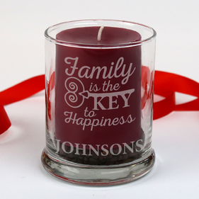 Personalized Family is the Key to Happiness Candle Holder