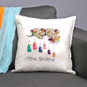 "Personalized ""Family Jars"" Decorative Pillow Cushion Covers"