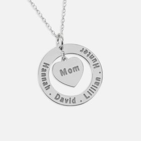 Personalized Family Names Necklace for Mom in Sterling Silver