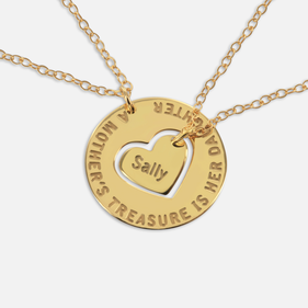 Personalized Family Necklace for Mom and Daughter (Set of Two Necklaces) in Gold over Silver